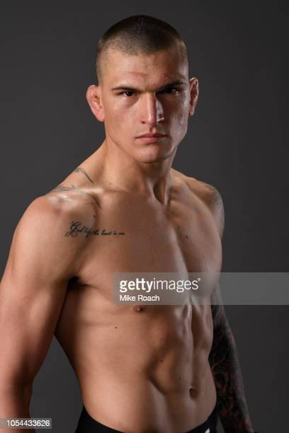 Don Madge of South Africa poses for a portrait backstage after his victory over Te Edwards during the UFC Fight Night event inside Avenir Centre on...