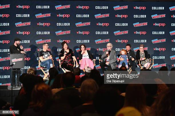 Don Mancini Jennifer Tilly Fiona Dourif Brad Dourif Alex Vincent and Christine Elise speak onstage at Child's Play / Cult Of Chucky Panel during 2017...