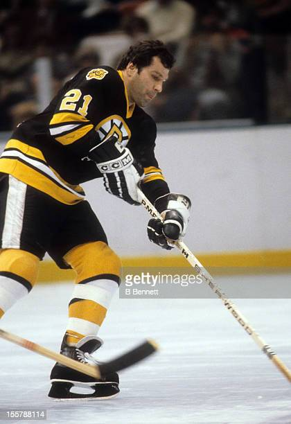 Don Marcotte of the Boston Bruins skates with the puck during an NHL game against the New York Rangers on December 23 1979 at the Madison Square...