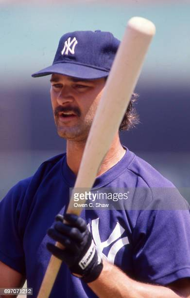 Don Mattingly of the New York Yankees against the California Angels at the Big A circa 1986 in AnaheimCalifornia