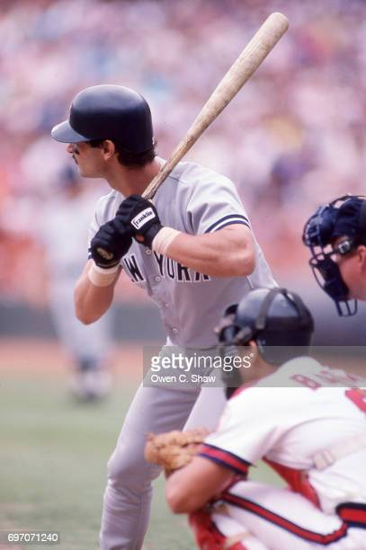 Don Mattingly of the New York Yankees bats against the California Angels at the Big A circa 1986 in AnaheimCalifornia
