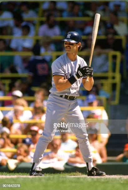 Don Mattingly of the New York Yankees bats during an MLB game versus the Chicago White Sox at Comiskey Park in Chicago Illinois during the 1987 season