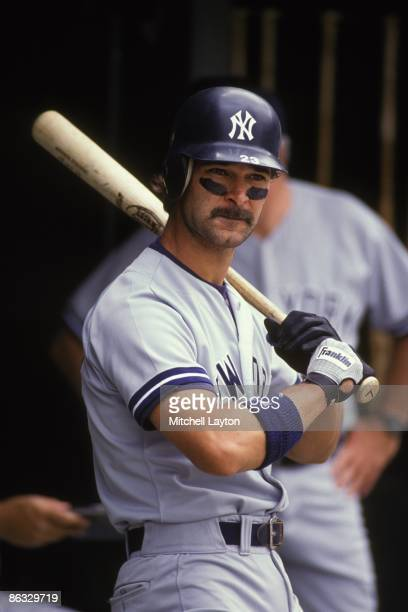 Don Mattingly of the New York Yankees looks on during a baseball game against the Baltimore Orioles on June 1 1990 at Memorial Stadium in Baltimore...