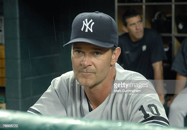 Don Mattingly of the New York Yankees looks on during pregame against the Detroit Tigers at Comerica Park in Detroit Michigan on August 24 2007 The...