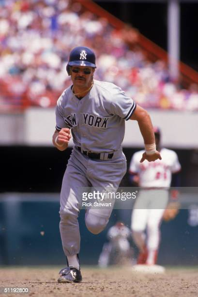 Don Mattingly of the New York Yankees runs between bases during a 1986 season game against the Anaheim Angels at Angels Stadium in Anaheim California