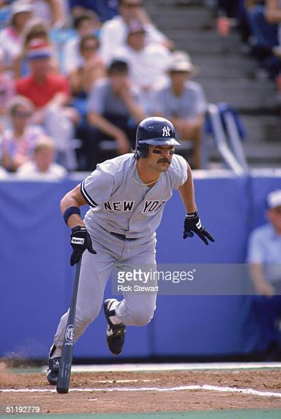Don Mattingly of the New York Yankees runs out of the batters box during a 1988 MLB season game against the Toronto Blue Jays at SkyDome in Toronto...