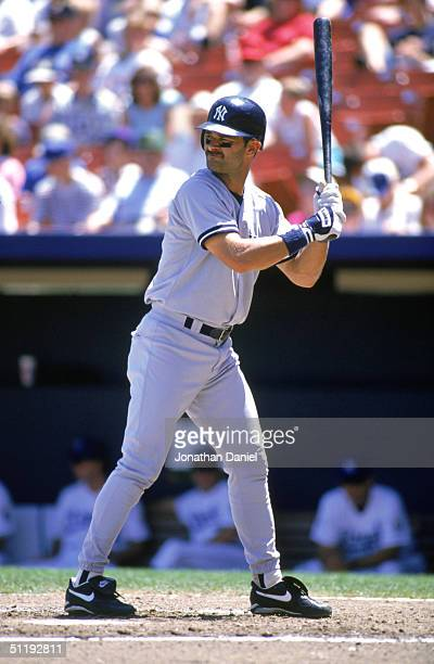 Don Mattingly of the New York Yankees stands ready at the plate during a game against the Kansas City Royals at Kauffman Stadium on June 27 1995 in...