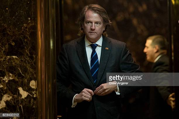 Don McGahn general counsel for the Trump transition team gets into an elevator in the lobby at Trump Tower November 15 2016 in New York City...