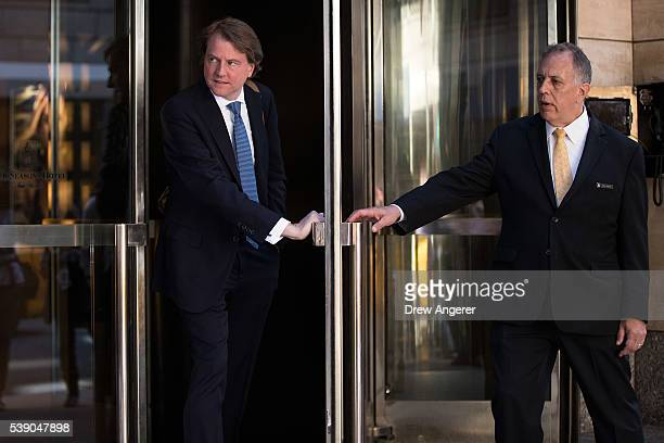 Don McGahn lawyer for Donald Trump and his campaign leaves the Four Seasons Hotel after a meeting with Trump and Republican donors June 9 2016 in New...