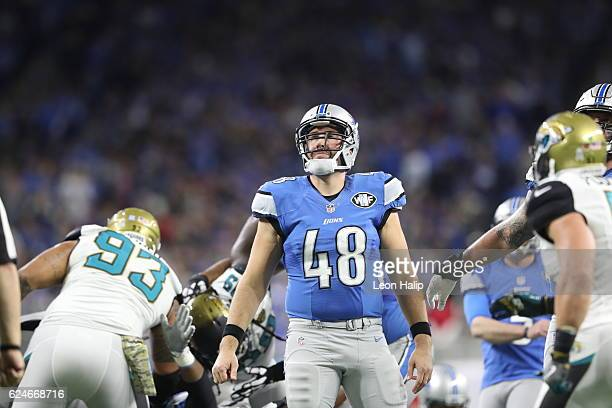 Don Muhlbach of the Detroit Lions watches the Lions extra point attempt against the Jacksonville Jaguars during fourth quarter acton at Ford Field on...