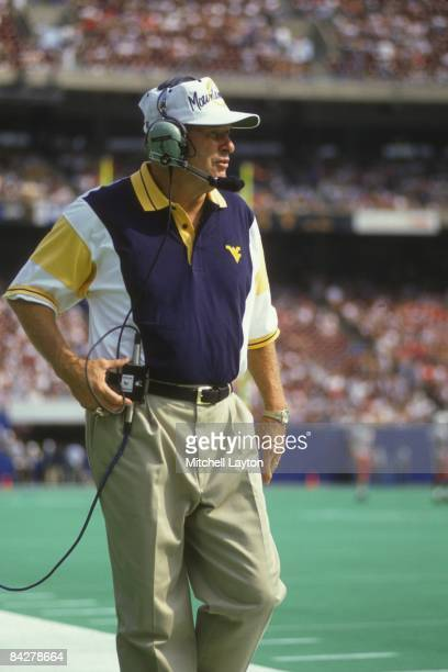Don Nehlen, head coach of the West Virginia Mountaineers, during a college football game against the Nebraska Cornhuskers on August 31, 1994 at...