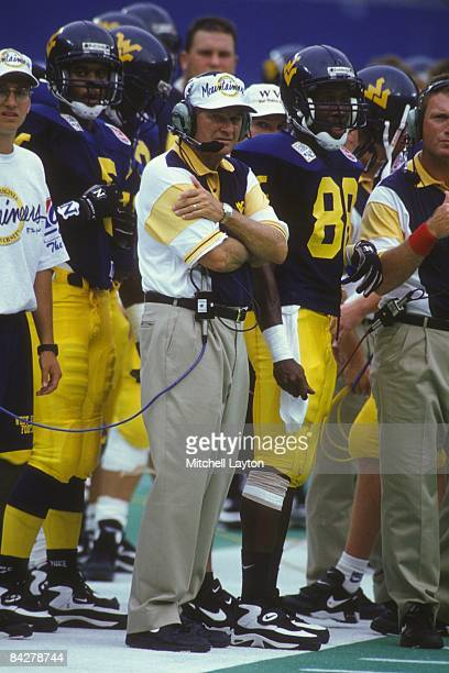 Don Nehlen head coach of the West Virginia Mountaineers during a college football game against the Nebraska Cornhuskers on August 31 1994 at Giants...