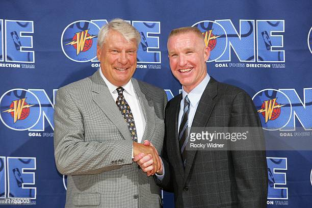 Don Nelson and Chris Mullin attend a press conference announcing Nelson as the new head coach for the Golden State Warriors on August 30 2006 at the...