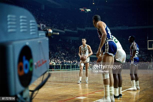 Don Nelson of the Boston Celtics shoots a free throw against the Cincinnati Royals circa 1967 at the Boston Garden in Boston Massachusetts NOTE TO...
