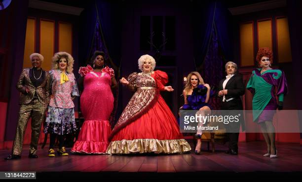 """Don One, Holly Stars, Latrice Royale, Myra DuBois, Willam Belli, LoUis CYpher and Anna Phylactic during the """"Death Drop"""" press call at Garrick..."""