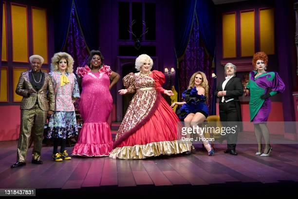 """Don One, Holly Stars, Latrice Royale, Myra Dubois, William, Louis Cyfer and Anna Phylactic on stage during the """"Death Drop"""" press call at Garrick..."""