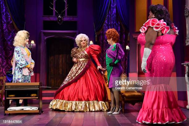 """Don One, Holly Stars, Myra DuBois, Anna Phylactic and Latrice Royale during the """"Death Drop"""" press call at Garrick Theatre on May 17, 2021 in London,..."""