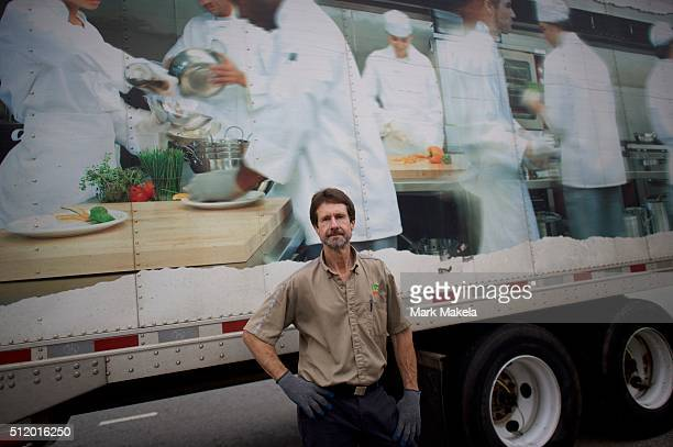 Don Paschall a route driver who supports Governor John Kasich as a presidential candidate delivers food supplies February 23 2016 in Ballentine South...