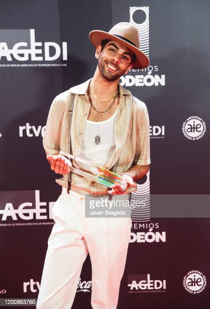 Don Patricio winner for Best Song poses in the trophy room during the 1st Odeon Awards at Teatro Real on January 20 2020 in Madrid Spain