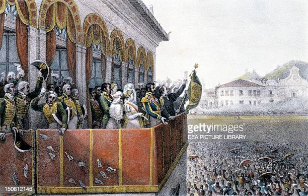 Don Pedro I's acclamation as the first constitutional emperor of the country October 12 1822 at the end of the Brazilian War of Independence Brazil...