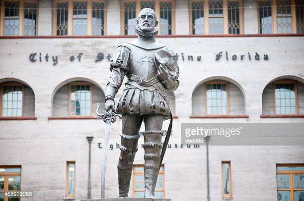 don pedro menendes statue in st. augustine, florida, usa - st. augustine florida stock photos and pictures