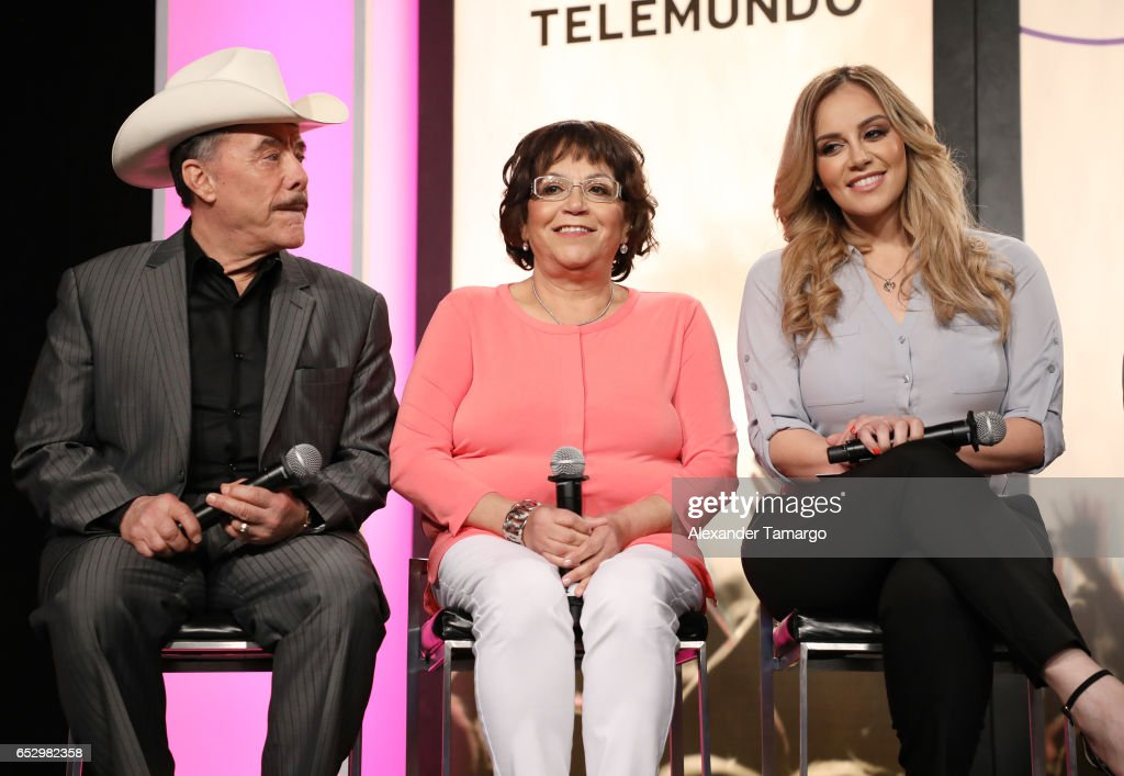 Don Pedro Rivera, Dona Rosa Rivera and Rosie Rivera are seen at the introduction of the cast of 'Jenni Rivera: Mariposa de Barrio' at Telemundo Studios on March 13, 2017 in Miami, Florida.
