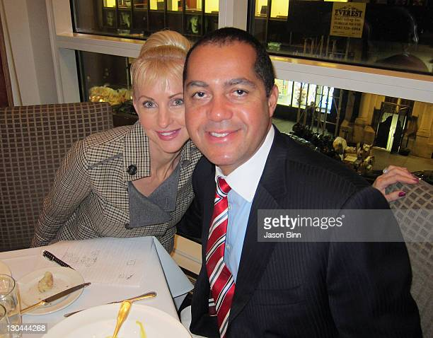 Don Peebles Chairman and Chief Executive Officer of the Peebles Corp and his wife Katrina Peebles pose at The Core Club circa October 2011 in New...