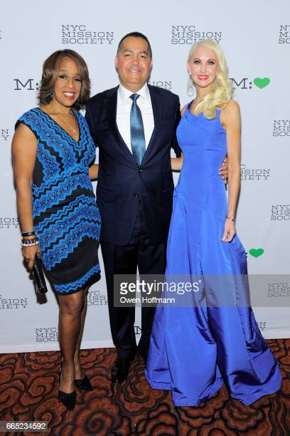 Don Peebles Gayle King and Katrina Peebles attend 2017 Champion For Children Gala at Mandarin Oriental on April 5 2017 in New York City
