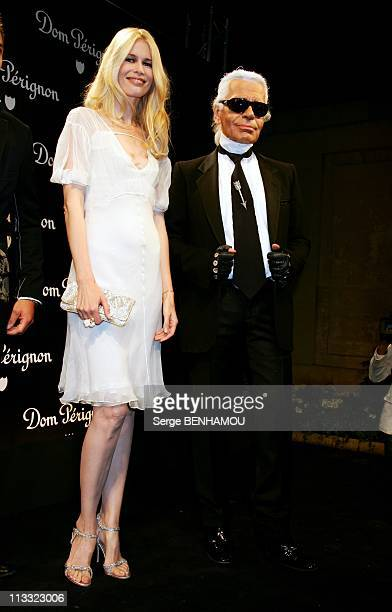 Don Perignon Party At Karl Lagerfeld Home In Paris France On July 04 2007 Claudia Schiffer and Karl Lagerfeld