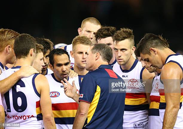 Don Pyke coach of the Adelaide Crows speaks to his players during the round three AFL match between the Richmond Tigers and the Adelaide Crows at...