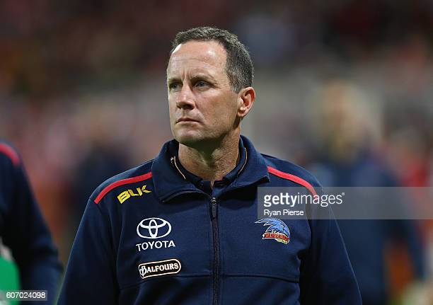 Don Pyke coach of the Crows looks on during the First AFL Semi Final match between the Sydney Swans and the Adelaide Crows at the Sydney Cricket...