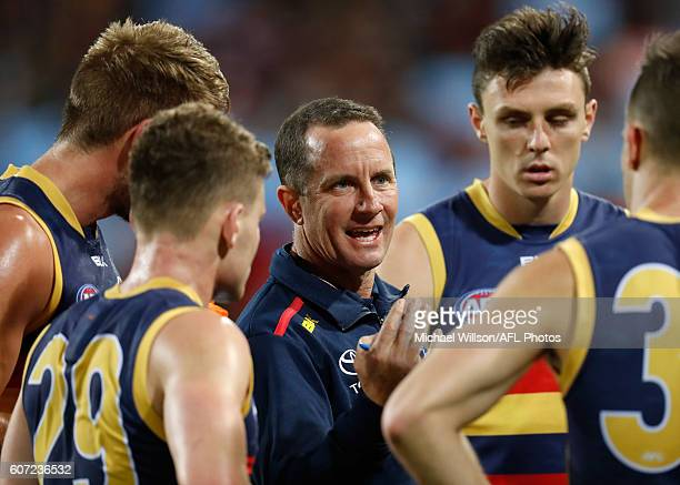 Don Pyke Senior Coach of the Crows addresses his players during the 2016 AFL First Semi Final match between the Sydney Swans and the Adelaide Crows...