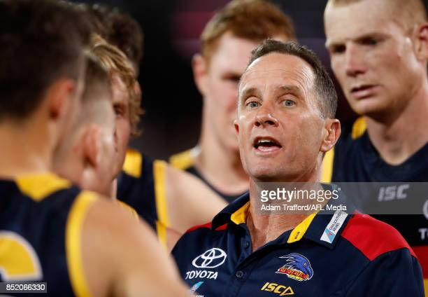 Don Pyke Senior Coach of the Crows addresses his players during the 2017 AFL First Preliminary Final match between the Adelaide Crows and the Geelong...