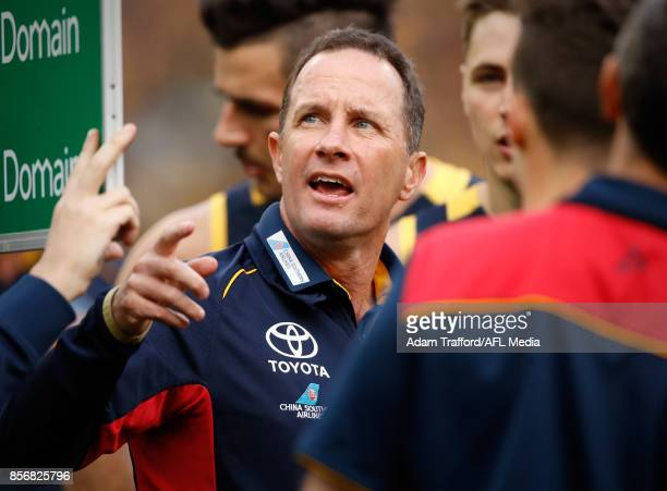 Don Pyke Senior Coach of the Crows addresses his players during the 2017 Toyota AFL Grand Final match between the Adelaide Crows and the Richmond...