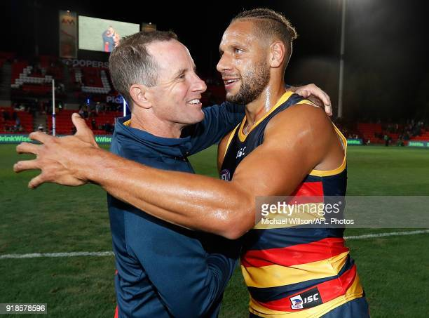 Don Pyke Senior Coach of the Crows and Cameron EllisYolmen of the Crows celebrate during the AFLX grand final match between the Adelaide Crows and...