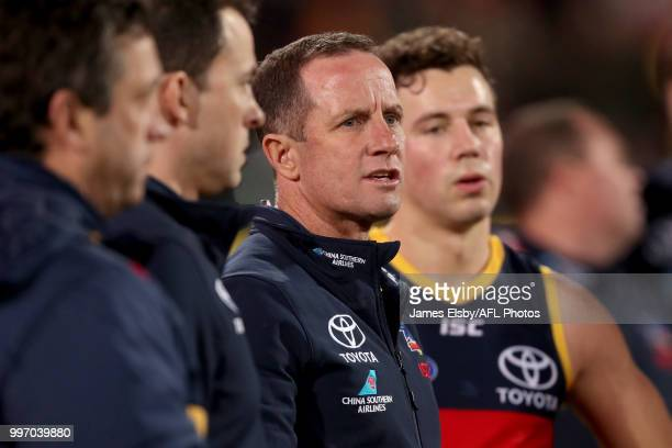 Don Pyke Senior Coach of the Crows during the 2018 AFL round 17 match between the Adelaide Crows and the Geelong Cats at Adelaide Oval on July 12...