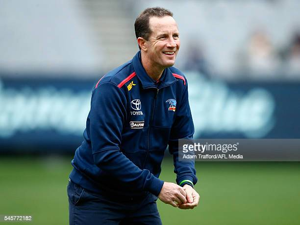 Don Pyke Senior Coach of the Crows looks on during the 2016 AFL Round 16 match between the Carlton Blues and the Adelaide Crows at the Melbourne...