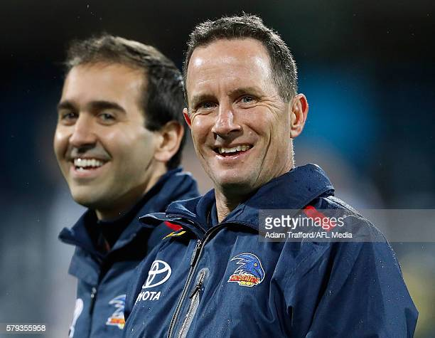 Don Pyke Senior Coach of the Crows looks on during the 2016 AFL Round 18 match between the Geelong Cats and the Adelaide Crows at Simonds Stadium on...