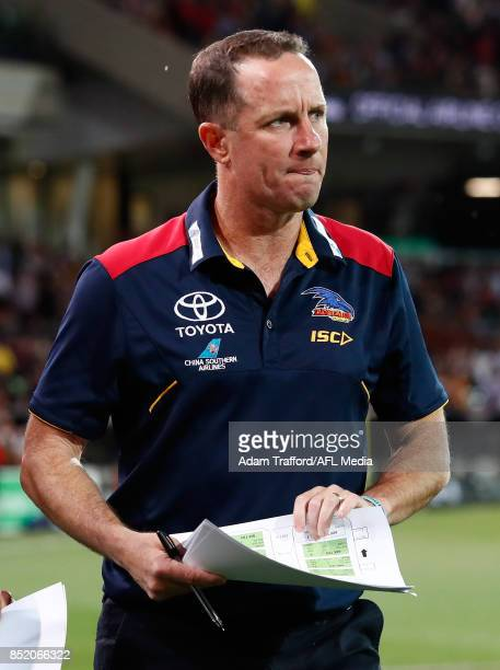Don Pyke Senior Coach of the Crows looks on during the 2017 AFL First Preliminary Final match between the Adelaide Crows and the Geelong Cats at...