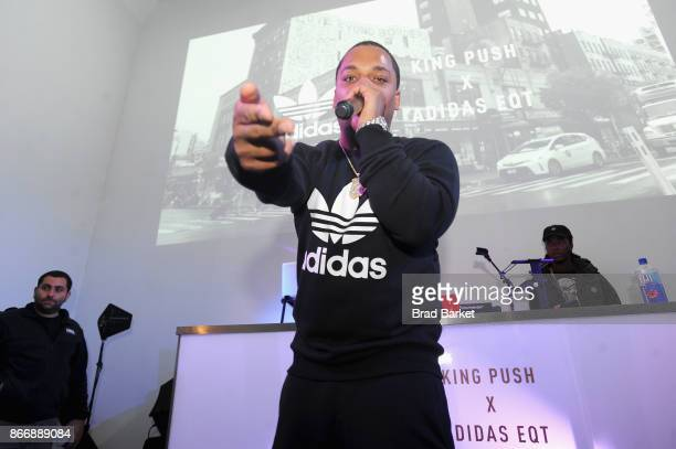 Don Q performs at the Launch Of Pusha T's Latest Collaboration With adidas Originals KING PUSH X ADIDAS ORIGINALS EQT 'BODEGA BABIES' on October 26...