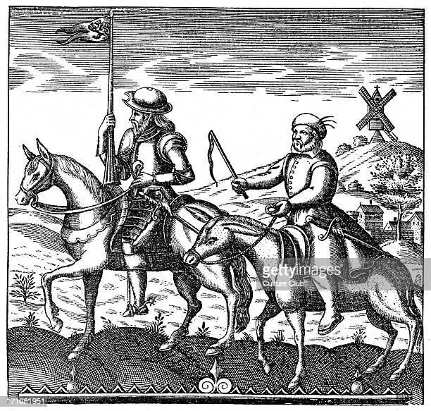Don Qiixote and Sancho Panza riding from the novel by Miguel de Cervantes Windmill in background Title page to an original edition MdC Spanish...
