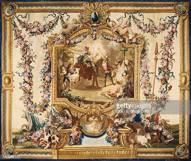 Don Quixote and Sancho on a wooden horse 18th century Gobelins tapestry woven by Audran after designs by Charles Coypel 171444 from the series Don...