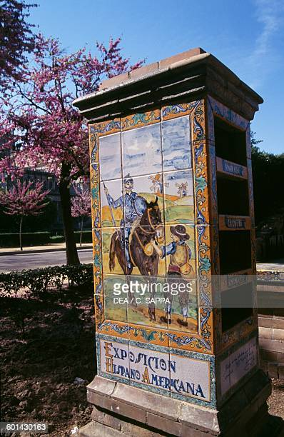 Don Quixote and Sancho Panza azulejos commemorative stele for the IberoAmerican Exposition of 1929 Plaza de America Seville Andalusia Spain 20th...