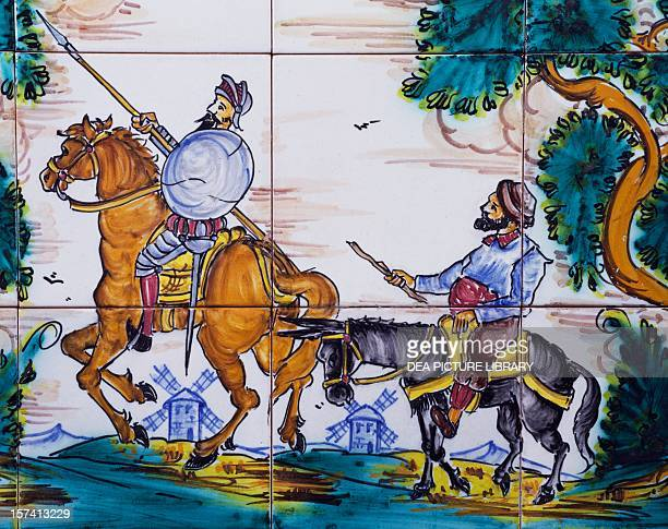 Don Quixote and Sancho Panza ceramic panel Andres de las Heras manufacture El Puente del Arzobispo CastileLa Mancha Detail Spain 20th century