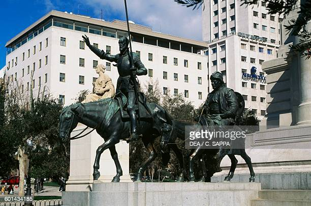 Don Quixote and Sancho Panza detail of the Monument to Miguel de Cervantes Saavedra Spanish novelist playwright and poet Plaza de Espana Madrid Spain...