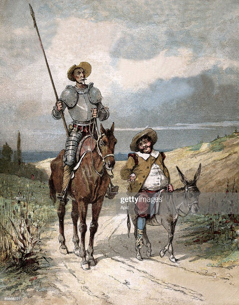 "Don Quixote and Sancho Panza, illustration of book by Miguel de Cervantes ""Histoire de Don Quichotte"", engraving after Jules David, 1922 : News Photo"