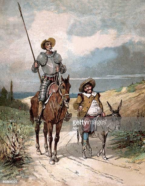 Don Quixote and Sancho Panza illustration of book by Miguel de Cervantes 'Histoire de Don Quichotte' engraving after Jules David 1922