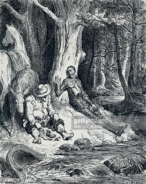 Don Quixote and Sancho Panza in an illustration by Gustave Dore ' for Don Quixote by Miguel de Cervantes Saavedra Paris Bibliothèque Nationale De...