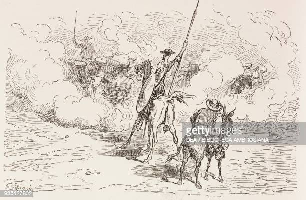 Don Quixote and Sancho Panza in front of the herd of bulls engraving by Gustave Dore from Don Quixote of La Mancha by Miguel de Cervantes Volume II...