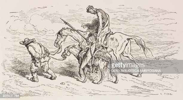 Don Quixote and Sancho Panza leaving the Dukes' palace engraving by Gustave Dore from Don Quixote of La Mancha by Miguel de Cervantes Volume II...